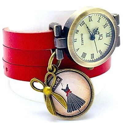 """montre bracelet en cuir rouge,""""L'atelier de couture"""", montre 3 tours de poignet, breloques ciseaux, cabochon""""Miss couture"""" - cadeau noel, cadeau femme, cadeau saint valentin - (ref.26)"""