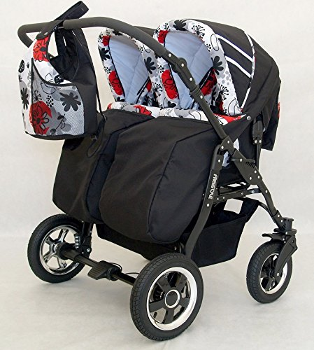 Complete Twin Pram - Carrycots, Chairs and Accessories - Black + Red BBtwin Colour: black + red. Includes 2 carrycots and 2 chairs plus leg cover, carrycot covers, bag backpack, lower basket, 2 plastic rain covers and 2 fly nets. - High-quality pneumatic, swivelling and shock-absorbent wheels. 4