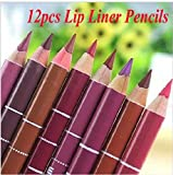 icase4u® 12 Farben Frauen Professionelle Lipliner Wasserdichtes Lip Liner Bleistift 15CM (Lipliner)