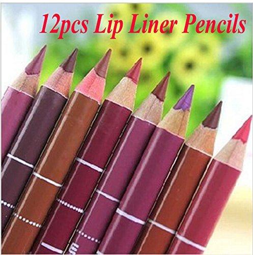 icase4u 12 Farben Frauen Professionelle Lipliner Wasserdichtes Lip Liner Bleistift 15CM (Lipliner)