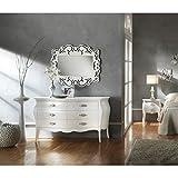 Estense–Como + 2Nachttische gewölbt aus Holz Farbe Weiß oder Elfenbein–3246a2108a2p