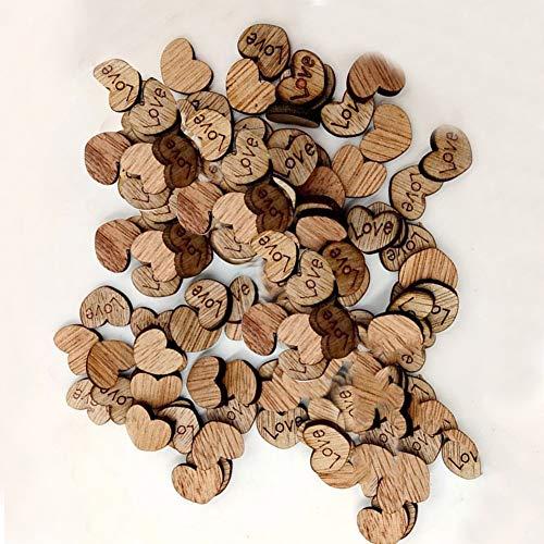 Chanhan 100 Stück rustikales Holz Herz Herz Sterne Hochzeit Tischstreudeko Basteln
