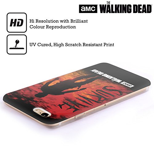 Offizielle AMC The Walking Dead Überleben Glas Typografie Soft Gel Hülle für Apple iPhone 6 Plus / 6s Plus Survive Rick Machete