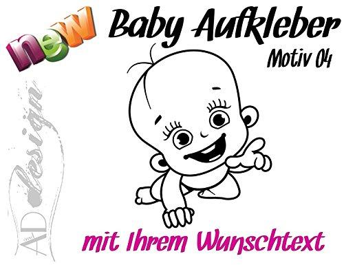 Baby / Kinder - Autoaufkleber ***Motiv 04*** (mit eigenem Wunschtext, Farb.- und Schriftauswahl)