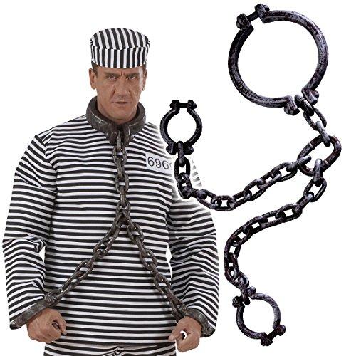 Amakando Handfesseln Sträfling JGA Handschellen Handketten Gefangener Junggesellenabschied Halsfesseln Gefängnis Kostüm Zubehör Handschlinge Hand Fessel (Gefängnis Kostüm Zubehör)