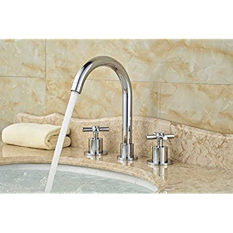 Rozinsanitary finitura cromata bagno lavandino rubinetto due maniglie tre fori rubinetto miscelatore vasca