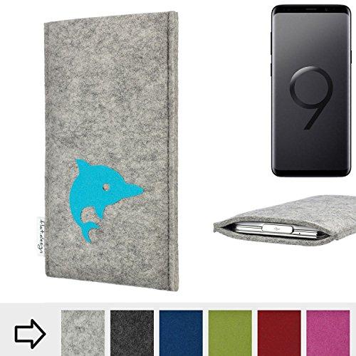 flat.design für Samsung Galaxy S9+ Handy Schutzhülle FARO mit Delphin - Smartphone Schutz Case Etui Made in Germany in hellgrau türkis - handgefertigte Handy-Tasche für Samsung Galaxy S9+