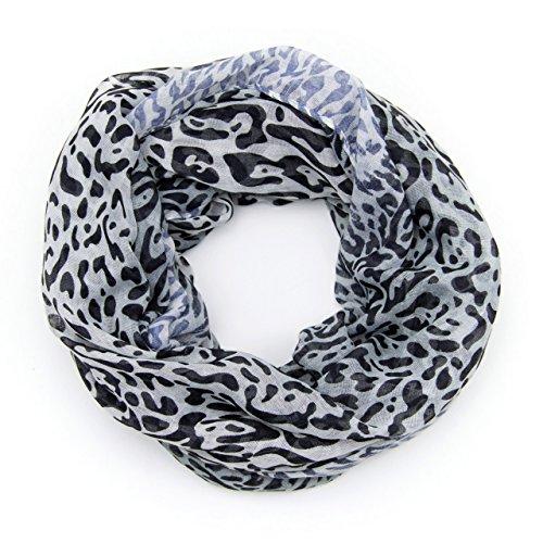 MANUMAR Loop-Schal für Damen | Hals-Tuch in schwarz weiß mit Animal Print Motiv als perfektes Frühling Sommer Accessoire | Schlauchschal | Damen-Schal | Rundschal | Geschenkidee für Frauen und Mädchen