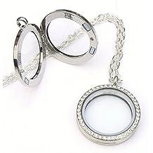 Collar con medallón de memoria – redondo con cristales – Marco de fotos flotante vivo –