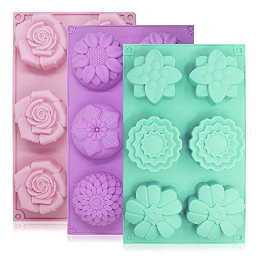 6-cavity silicone a forma di fiore cake stampi, yucool 3confezioni fondente decorazione a forma di cubetti di ghiaccio per homemade torta di cioccolato cupcake–viola verde rosa