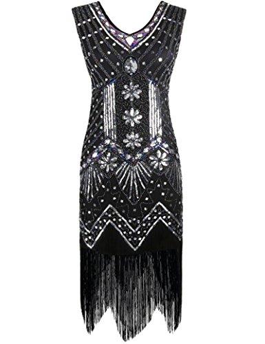 ahre mit V-Ausschnitt Sequin Art Deco Gatsby Inspiriert Flapper-Kleid Schwarz XL (Roaring Twenties Damenmode)