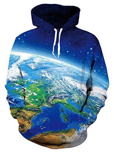 Idgreatim Unisex Kapuzenpullover 3D Bedruckte Tunnelzug Pullover Swearshirt  Mit Taschen Die Erde