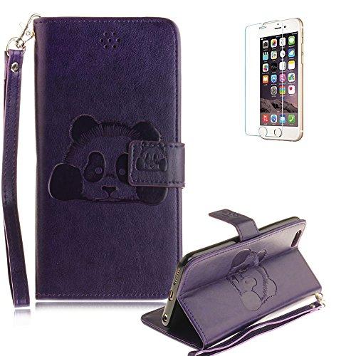"""Für iPhone 6/6S 4.7"""" Gurt Strap Magnetverschluß Ledertasche Hülle,Für iPhone 6/6S 4.7"""" Premium Seil Leder Wallet Tasche Brieftasche Schutzhülle,Funyye Stilvoll Jahrgang [Niedlicher reizender Panda Gep Panda,Lila"""