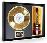ACDC Hells Bells Goldene Schallplatte & Miniature Guitar Mounted & Framed Display