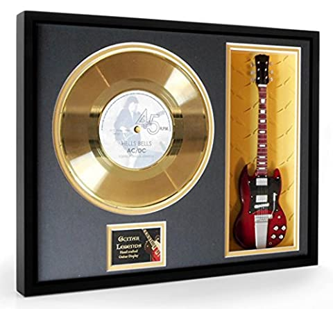 ACDC Hells Bells Disque d'or & Guitare Miniature Mounted &