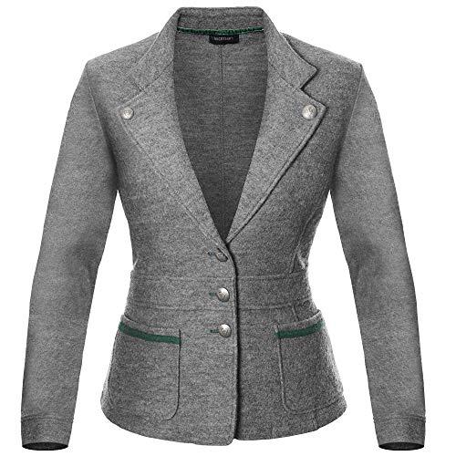 Goodsmania Damen Wollfilz Trachtenjacke grau, Größe 42