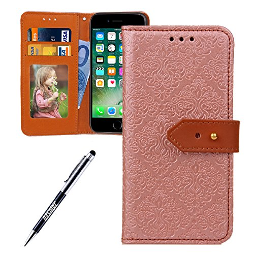 JAWSEU Coque Etui pour iPhone 6/6S 4.7,iPhone 6 Leather Case with Strap,iPhone 6S Etui en Cuir Folio Flip Wallet Cover Case,2017 Neuf Style Femme Homme Up and Down Unlock Holster Rabat Portefeuille ét Rose or*