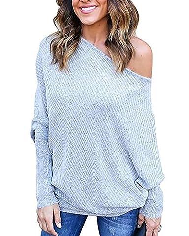 Tomwell Pullover Damen Sexy Schläger Hülsen Herbst Sweatshirts Loose Langarm Schulterfrei Strickpullover Sweater Tops Oberteil Grau DE 36