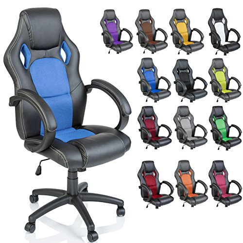 TRESKO Silla giratoria de oficina Sillón de escritorio Racing disponible en 14 colores, bicolor, silla Gaming ergonómica, cilindro neumático certificado por SGS, silla adecuada para niños mayores (Negro / Azul claro)