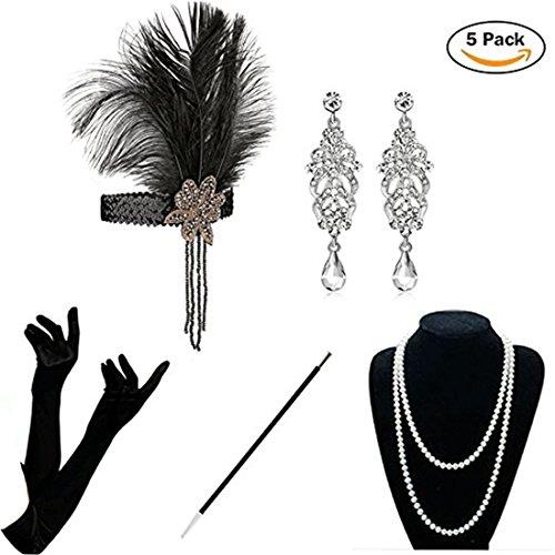 KQueenStar 1920er Jahre Zubehör Set - 5PCS Flapper Kostüm für Damen Accessoires Set 20s Gatsby Retro Stil Kostüme Stirnband Perlen Halskette Handschuhe Zigarettenspitze