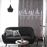 Ommda Gardinen Wohnzimmer Leinen Optik Hohl Vorhangverdunklungsgardinen mit ösen Heimtexland Schlafzimmer 2 Stück Kaffee 140x140cm(BreitexHöhe)