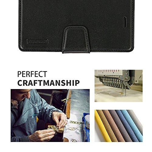 iPhone 7 Hülle, IPHOX PU Leder Tasche für iPhone 7 Handyhülle im Bookstyle mit Magnet Kartenfächer Handschlaufe Standfunktion, Grün/ Blau Black/HM
