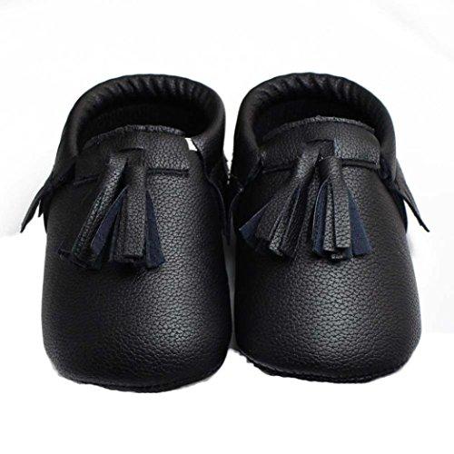 Saingace® fille nouveau-né bébé chaussures souples chaussures antidérapantes berceau chaussures à semelle souple (13, noir) noir