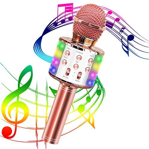 Karaoke Mikrofon,Tragbares Drahtloses Mikrofon,Bluetooth Karaoke Mikrofon mit Aufnahme 4-in-1 Drahtloses Mikrofon für Kinder und Erwachsene zu Hause KTV,Party,Podcast, Familie