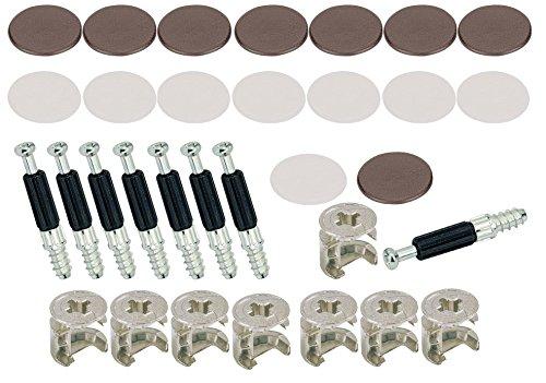 SECOTEC Möbelverbinder Exzenter 15 mm | Schrank-Verbinder | inkl. Abdeckkappen in braun & weiß | Made in Germany | je 8 Stück