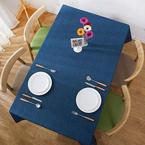 Saphir-tisch (jihaoqwer Hotel Tischdecke Moderne einfache wasserdichte rechteckige Haushalt Restaurant Tischdecke Plain Tee Tisch Tischdecke, Saphir, 130x180)