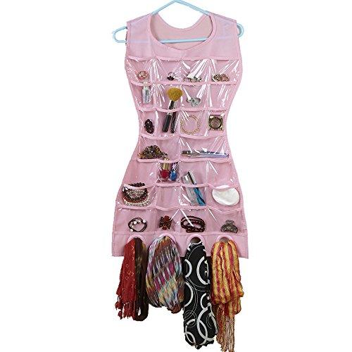 Creative Fashion® Vestido de cóctel de doble cara para colgar joyas y accesorios organizador expositor de bolsillo de almacenamiento bolsa
