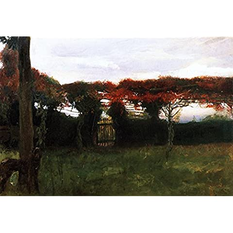Red Arbor With Dog - By Max Slevogt - Impresión en lienzo 32x22 pulgadas - sin marco