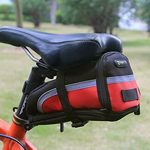 Evecase Bolsa para Sillín de Bicicleta, Alforja para Sillín, Negro y Rojo, Grande