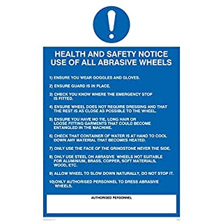 Viking Signs MP306-A4P-V Health and Safety Notice Use Of All Abrasive Wheels Rules Sign, Vinyl, 300 mm H x 200 mm W
