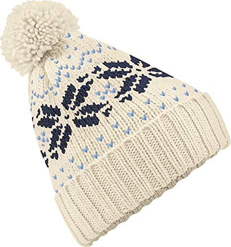 Neverless Strickmütze Damen Norweger Mütze Wintermütze Bommelmütze Creme Unisize