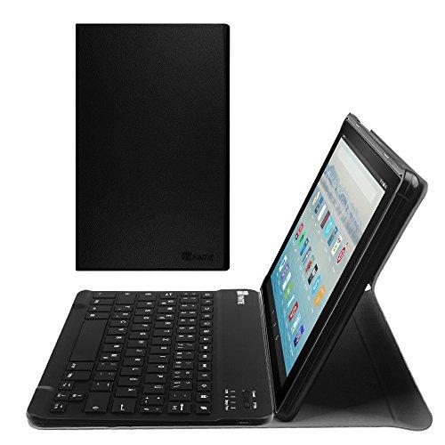 Fintie Bluetooth Tastatur Hülle für Amazon Fire HD 10 (7. Generation - 2017) - Ultradünn Ständer Schutzhülle mit magnetisch abnehmbar drahtloser Deutscher QWERTZ Bluetooth Tastatur, Schwarz