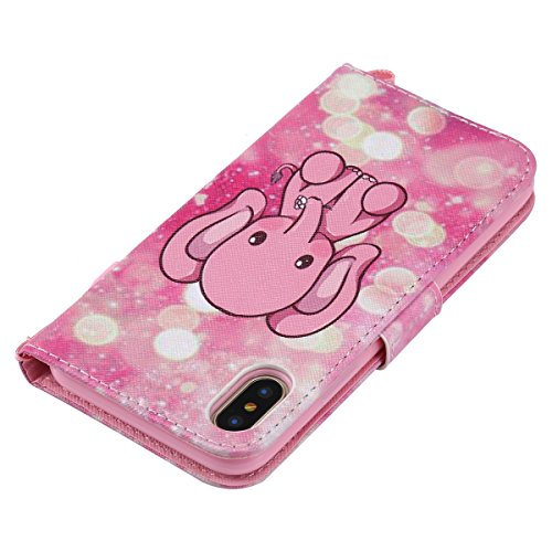 Custodia iPhone X, iPhone X Cover Wallet, SainCat Custodia in Pelle Flip Cover per iPhone X, Ultra Sottile Anti-Scratch Book Style Custodia Morbida Cover Protettiva Caso PU Leather Custodia Libretto A Elefante Rosa