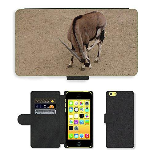 Just Mobile pour Hot Style Téléphone portable étui portefeuille en cuir PU avec fente pour carte//m00139782The Wild ass antilope Animal//Apple iPhone 5C