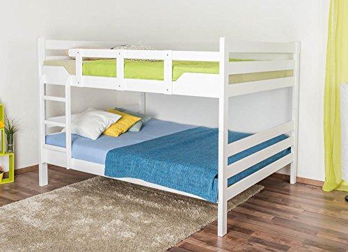 """Etagenbett für Erwachsene""""Easy Premium Line"""" K16/n, Kopf- und Fußteil gerade, Buche Vollholz massiv weiß lackiert - Liegefläche: 160 x 200 cm, teilbar"""