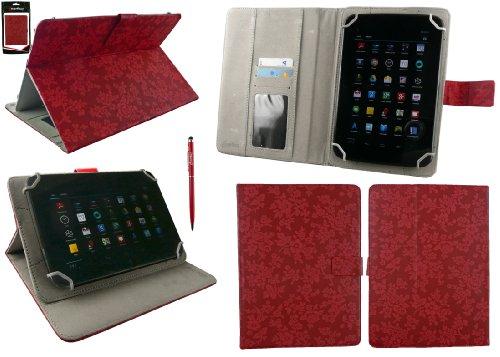 Emartbuy® AlpenTab Heidi 7 Zoll Tablet PC Universalbereich Vintage Floral Rot Multi Winkel Folio Executive Case Cover Wallet Hülle Schutzhülle mit Kartensteckplätze + Rot 2 in 1 Eingabestift