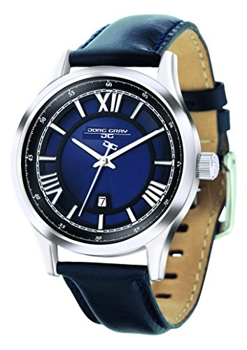 Jorg Gray Men's Quartz Watch with Blue Dial Analogue Display and Blue Leather Strap JG6800-13