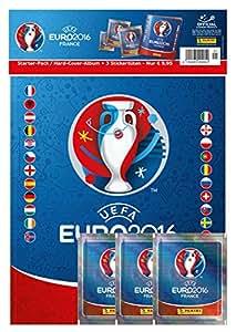 Panini 909950 – Sammelsticker Uefa Euro 2016 Starterset Hardcover Album und 3 Booster, bunt