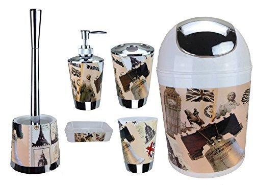 Generic 6Item Set for Bath / Bathroom including Soap Dispenser, Toilet Brush and Holder Villes
