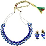 Fashion Valley Blue Crystal Beads and Pearl Kundan Necklace Set for Women