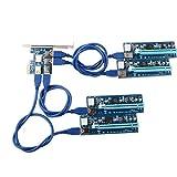 SNOWINSPRING 4-in-1-PCI-E-Adapterplatine für Riser + 6-polige 16x zu 1 x Riser Adapterkarte mit 60 cm langem USB 3.0 Verlaengerungskabel und 6 polige - Ethereum Mining ETH