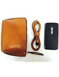 The WrapCraft Utility Pouch In 100% Genuine Leather For Both Men & Women (tan)