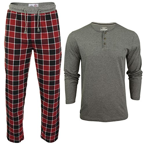 Tokyo Laundry Mens Pyjama Set with Check Bottoms & Long Sleeved Top