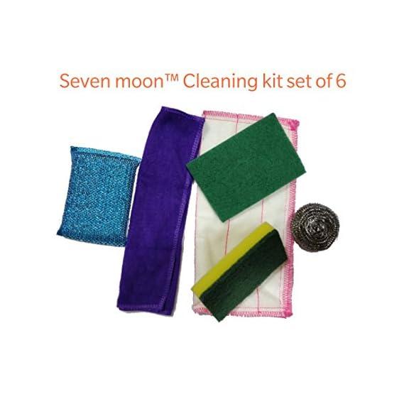 Seven Moon Kitchen Washing Scrubber,Still Scrubber,Sponge Scrub pad, Foam pad,Cloth 5+1 Set Cleaning Kit