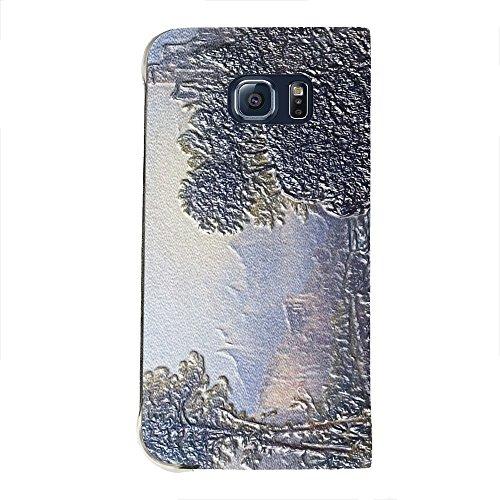 Thomas Doughty - Fanciful Landscape, Texture Portafoglio Mesh Flip Custodia Protectiva in Pelle Wallet Case Cover Shell Nero con Design Strutturato per Samsung Galaxy S6 Edge G9200.
