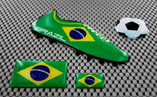 Brasilien Brasil World Cup Fußball Fußball Schuh 3D Aufkleber Aufkleber Set (Brasilien-fußball-schuhe)